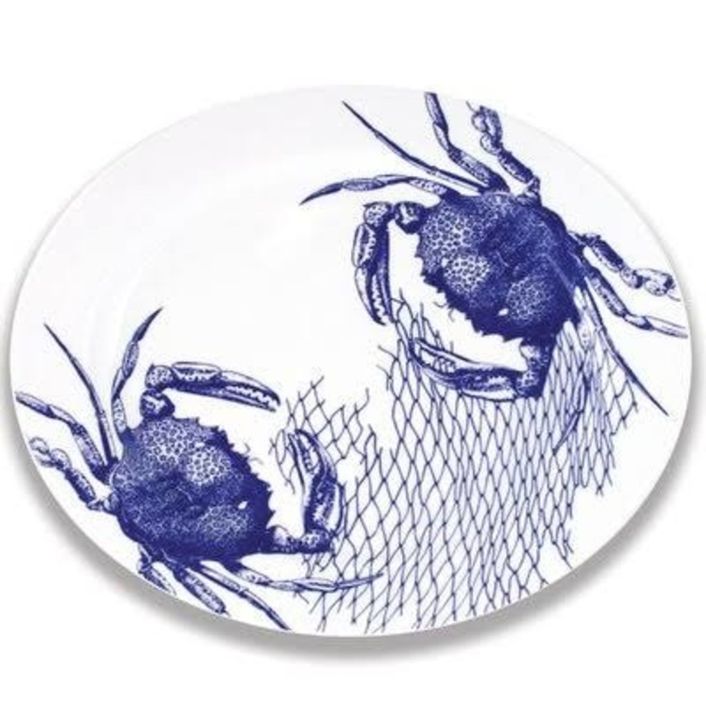 """Caskata Caskata Crabs & Nets - 15"""" Rimmed Oval Platter BLUE"""