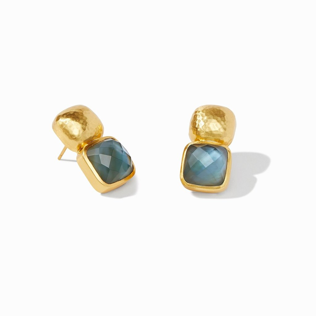 Julie Vos disc Julie Vos Clara Luxe Earring Gold Clear Azure Blue