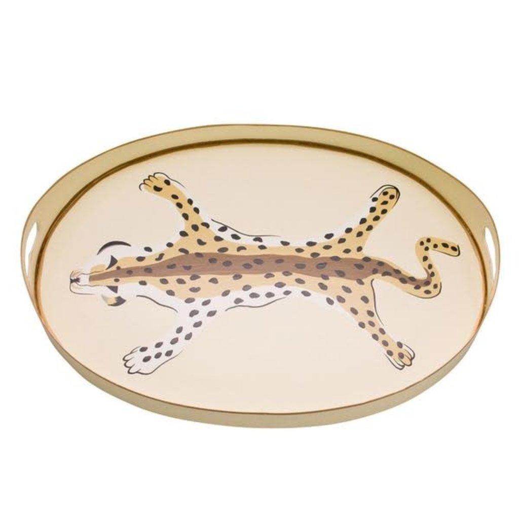 "Dana Gibson Dana Gibson 20"" Oval Cheetah Tray- Cream"