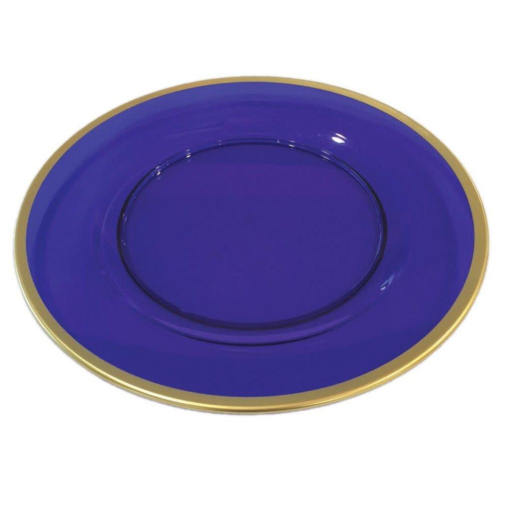 Caspari CASPARI COBALT W/GOLD RIM DINNER PLATE CHARGER