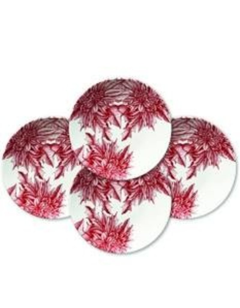Caskata Caskata Poinsettia S/4 Accent Plates - G.B.