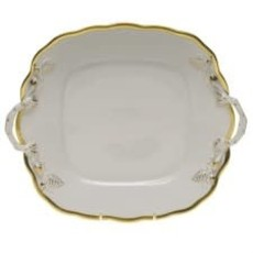 Herend HEREND GWENDOLYN SQUARE CAKE PLATE W/ HANDLE