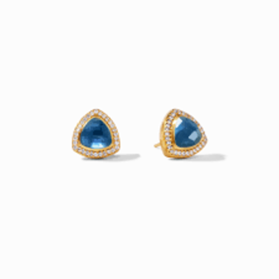 Julie Vos Julie Vos Paris Stud Earrings Iridescent Azure Blue with CZ Accents