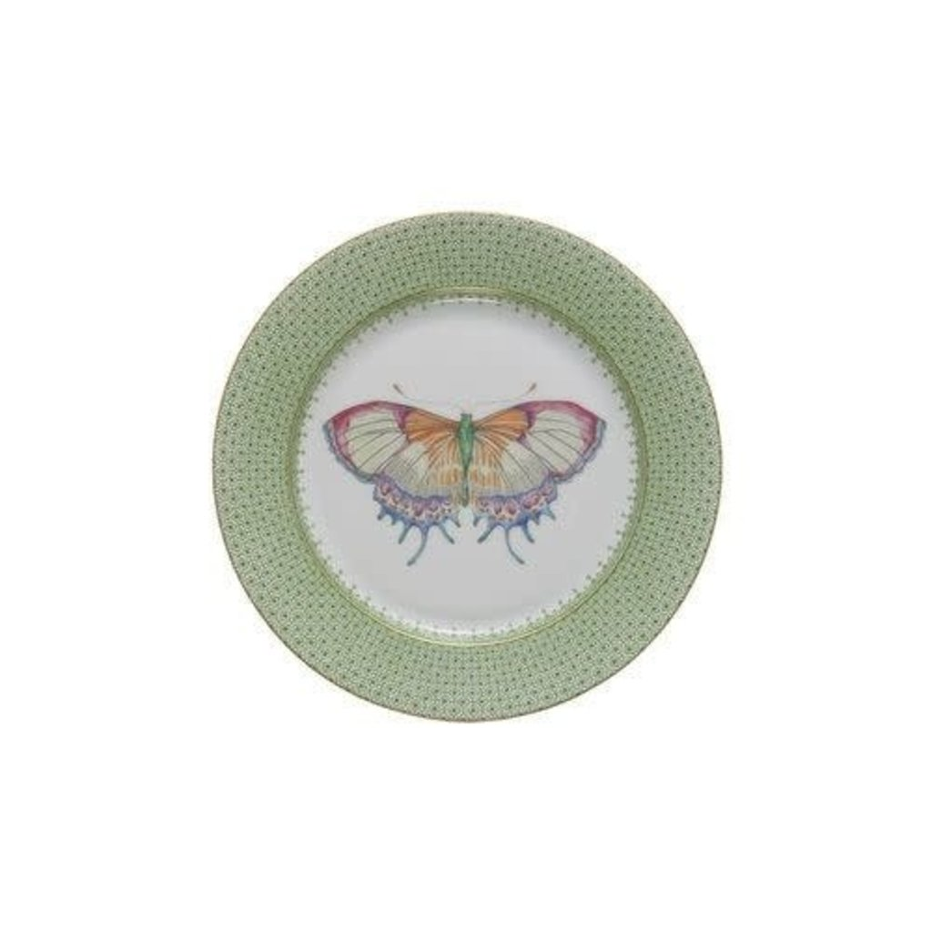 Mottahedeh Mottahedeh Butterfly Lace Dessert Plate- Green Apple