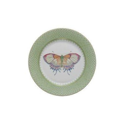 Mottahedeh Mottahedeh Apple Green Lace Dessert Plate w/ Butterfly