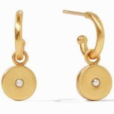 Julie Vos Julie Vos Poppy Hoop & Charm Earring- Pearl