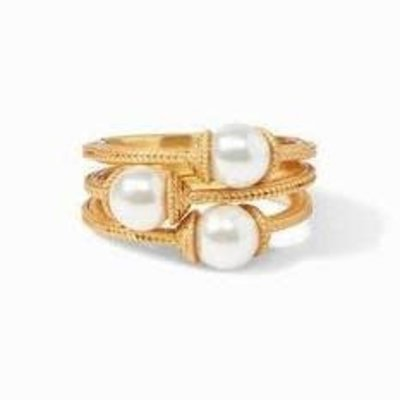 Julie Vos Julie Vos Calypso Pearl Stacking Ring- S/3, size 6