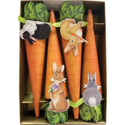 Caspari CASPARI BUNNIES AND CARROTS - CONE CRACKERS-10 INCH/8-IN