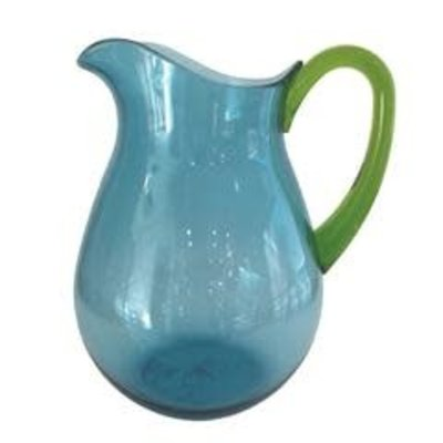 Caspari CASPARI TURQUOISE ACRYLIC WITH GREEN HANDLE - TTOP ACRYLIC PITCHER - 64 OZ
