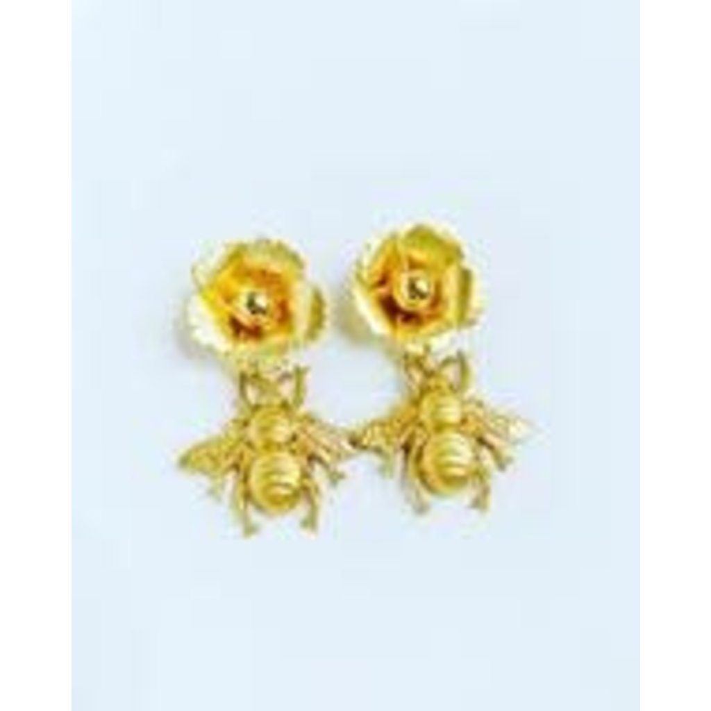 The Pink Reef Small Golden Flower & Bee Earring