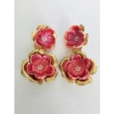 The Pink Reef M Hand Cut Floral Earrings- Pink