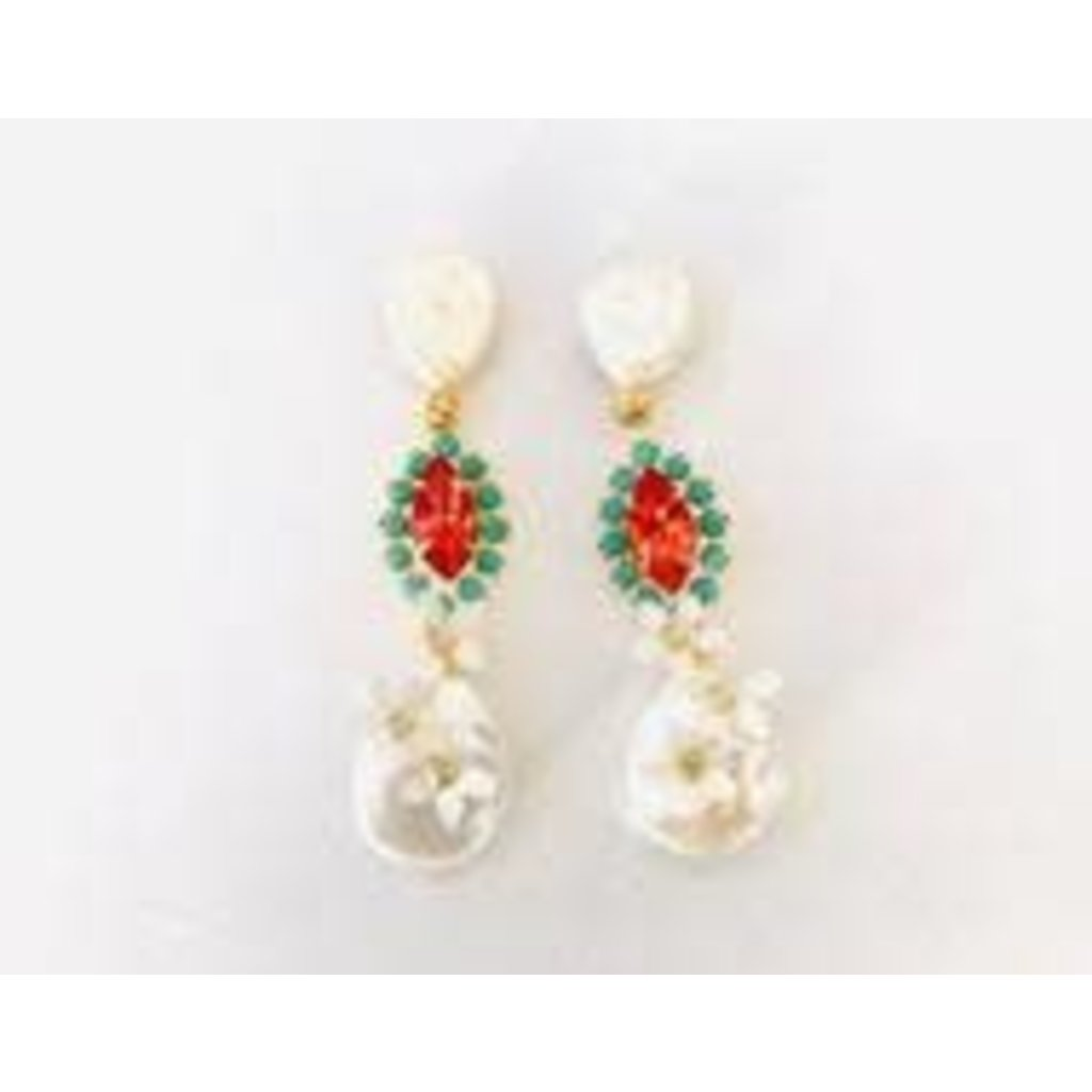 The Pink Reef Pearl & Turquoise Coral Crystal DangleEarring