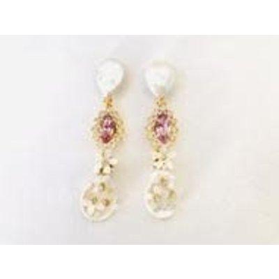 The Pink Reef Pearl & Lavender Crystal Dangle Earring
