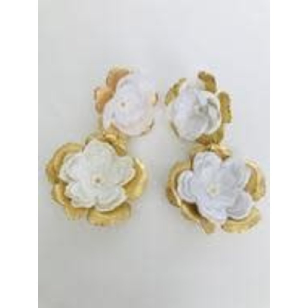 The Pink Reef M Hand Cut Floral Earrings- White