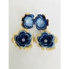 The Pink Reef M Hand Cut Floral Earrings- Navy/Blue