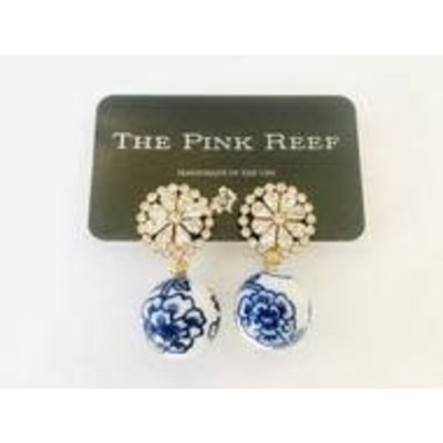 The Pink Reef Chinoiserie w/ Burst Earrings