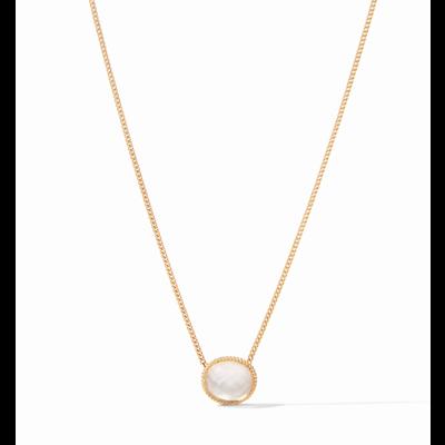 Julie Vos Julie Vos Verona Solitaire Necklace Gold Iridescent Clear Crystal