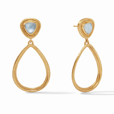 Julie Vos Julie Vos Barcelona Statement Earrings- Iridescent Chalcedony Blue