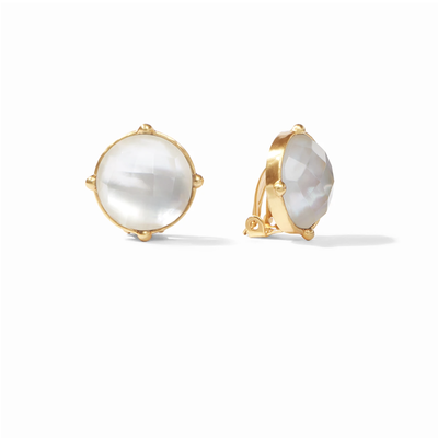 Julie Vos Julie Vos Honey Clip On Gold Earrings Clear
