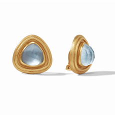 Julie Vos Julie Vos Barcelona Clip On Earrings- Iridescent Chalcedony Blue