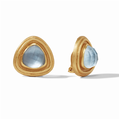 Julie Vos Julie Vos Barcelona Clip On Earrings- Iridescent Chalcedony Blue