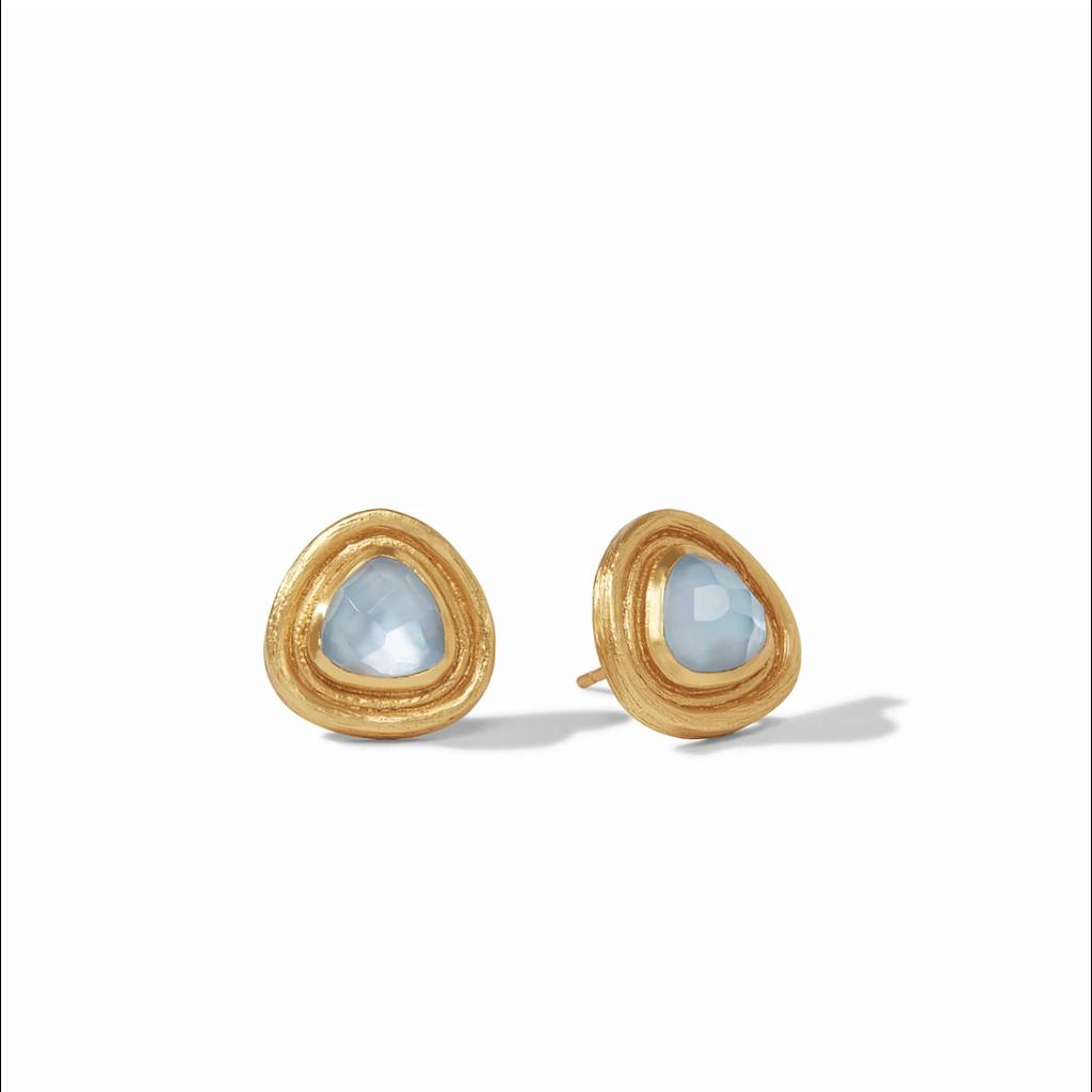 Julie Vos Julie Vos Barcelona Stud Earring- Chalcedony Blue