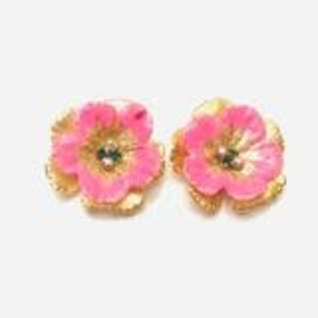 The Pink Reef Jewel pink and gold hand formed hand painted floral stud
