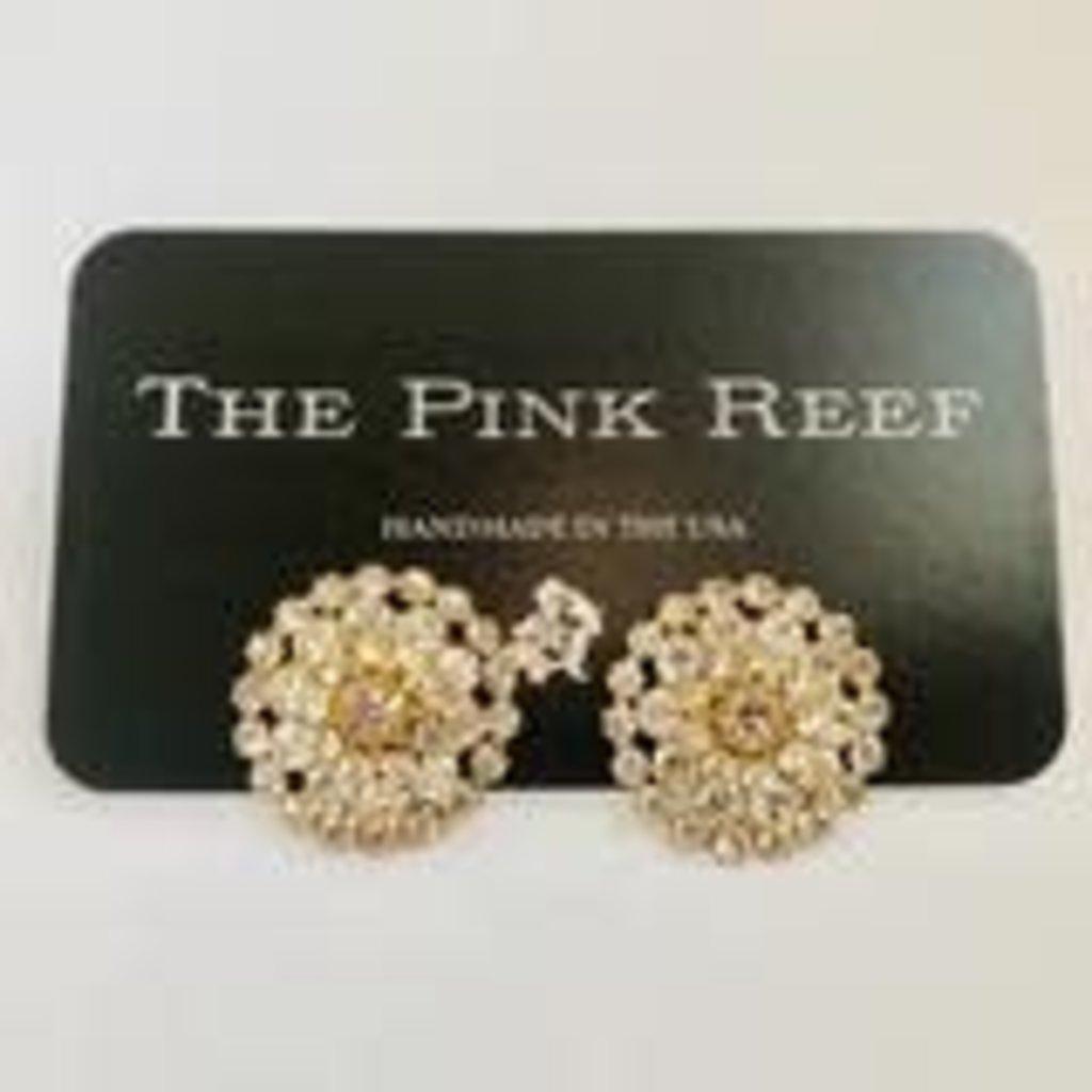 The Pink Reef Circular hand set Austrian Crystal stud