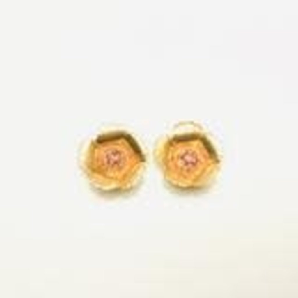 The Pink Reef tiny golden coral stud