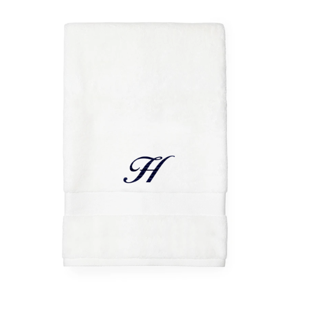 Sferra Sferra Bello Bath Towel White w/ Single Initial Navy Monogram