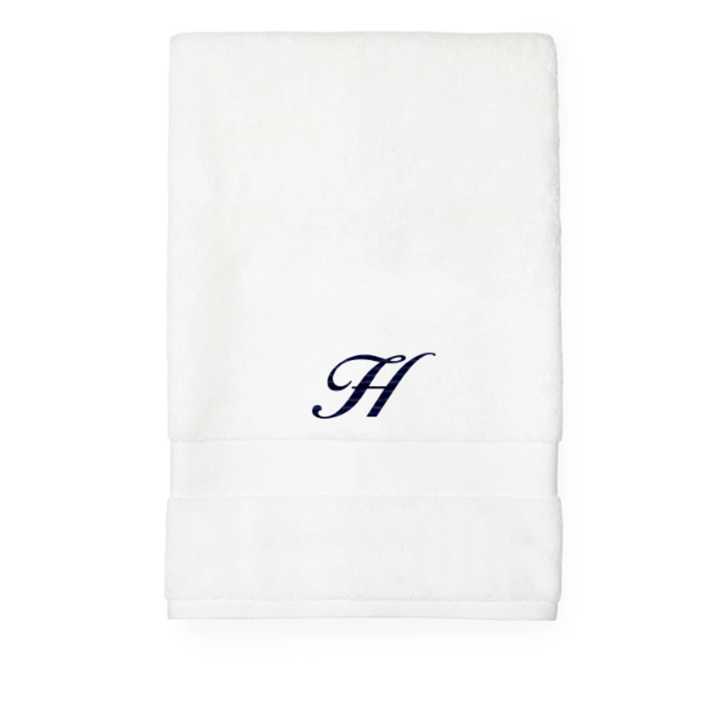 Sferra Sferra Bello Hand Towel White w/ Single Initial Navy Monogram