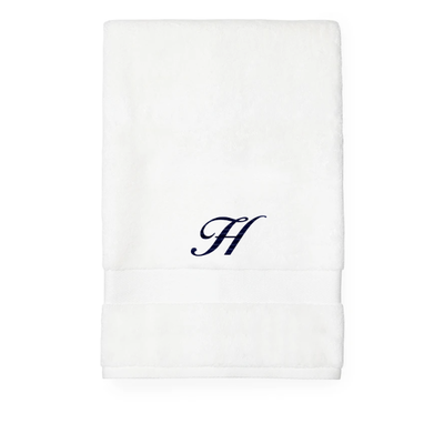 Sferra Sferra Bello Hand Towel White w/ Single Initial Navy Monogram