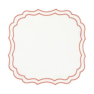 Caspari Caspari La Gallina Matta Krinkle Placemat in White with Orange