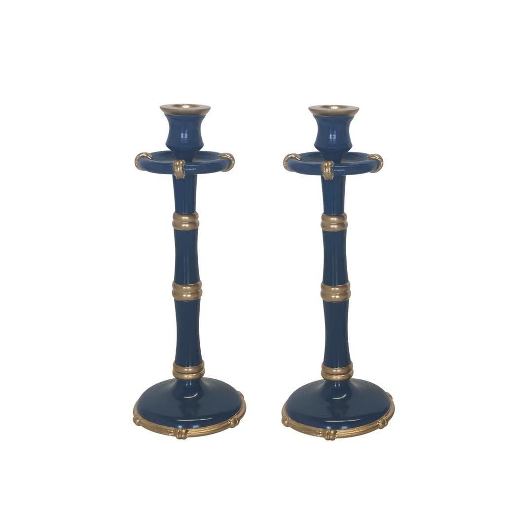 Dana Gibson Dana Gibson Navy Bamboo Candlesticks, Tall (Pair)