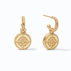 Julie Vos Julie Vos Fleur-de-Lis Hoop & Charm Earring Gold Pave Cubic Zirconia Reversible