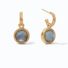 Julie Vos Julie VosFleur-de-Lis Hoop & Charm Earring Gold Iridescent Slate Blue Reversible
