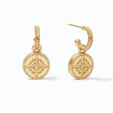 Julie Vos Julie Vos Fleur-de-Lis Hoop & Charm Earring Gold Iridescent Slate Blue Reversible