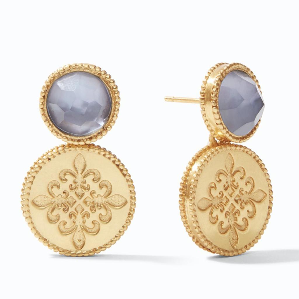 Julie Vos Julie Vos Fleur-de-Lis Earring Gold Iridescent Slate Blue
