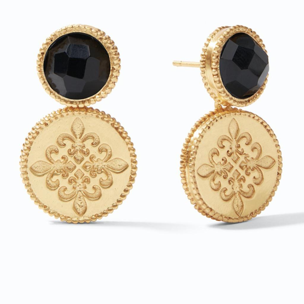 Julie Vos Julie Vos Fleur-de-Lis Earring Gold Obsidian Black