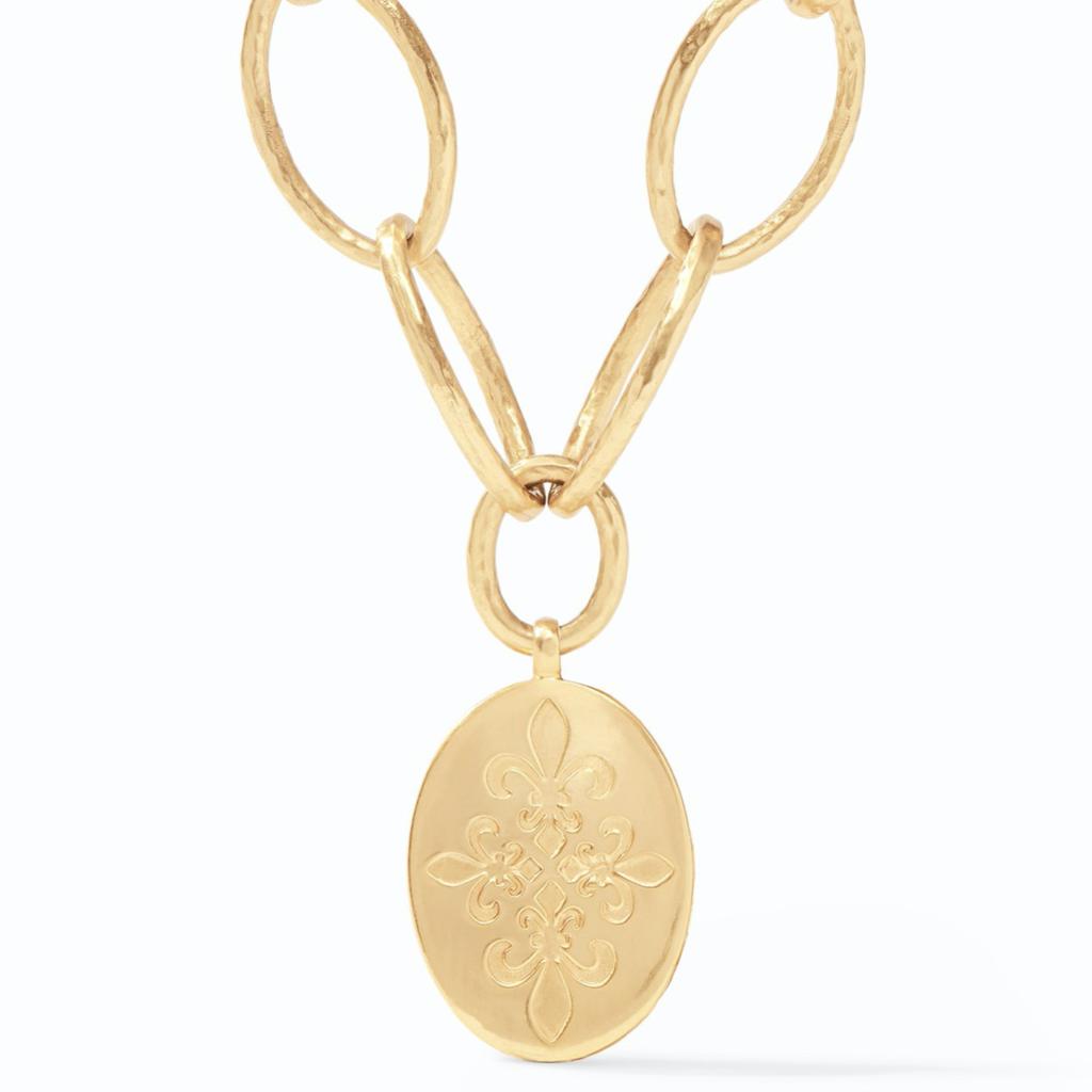 Julie Vos Julie Vos Fleur-de-Lis Statement Necklace Gold Iridescent Slate Blue Reversible