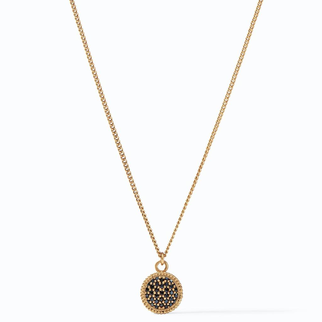 Julie Vos Julie Vos Fleur-de-Lis Solitaire Necklace Gold Pave Obsidian Black Reversible