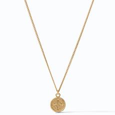 Julie Vos Julie Vos Fleur-de-Lis Solitaire Necklace Gold Pave Cubic Zirconia Reversible