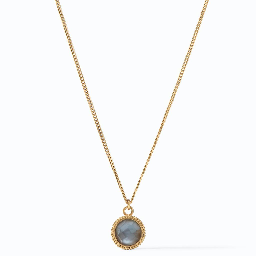 Julie Vos Julie Vos Fleur-de-Lis Solitaire Necklace Gold Iridescent Slate Blue Reversible