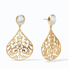 Julie Vos Julie Vos Chantilly Earring Gold Iridescent Clear Crystal