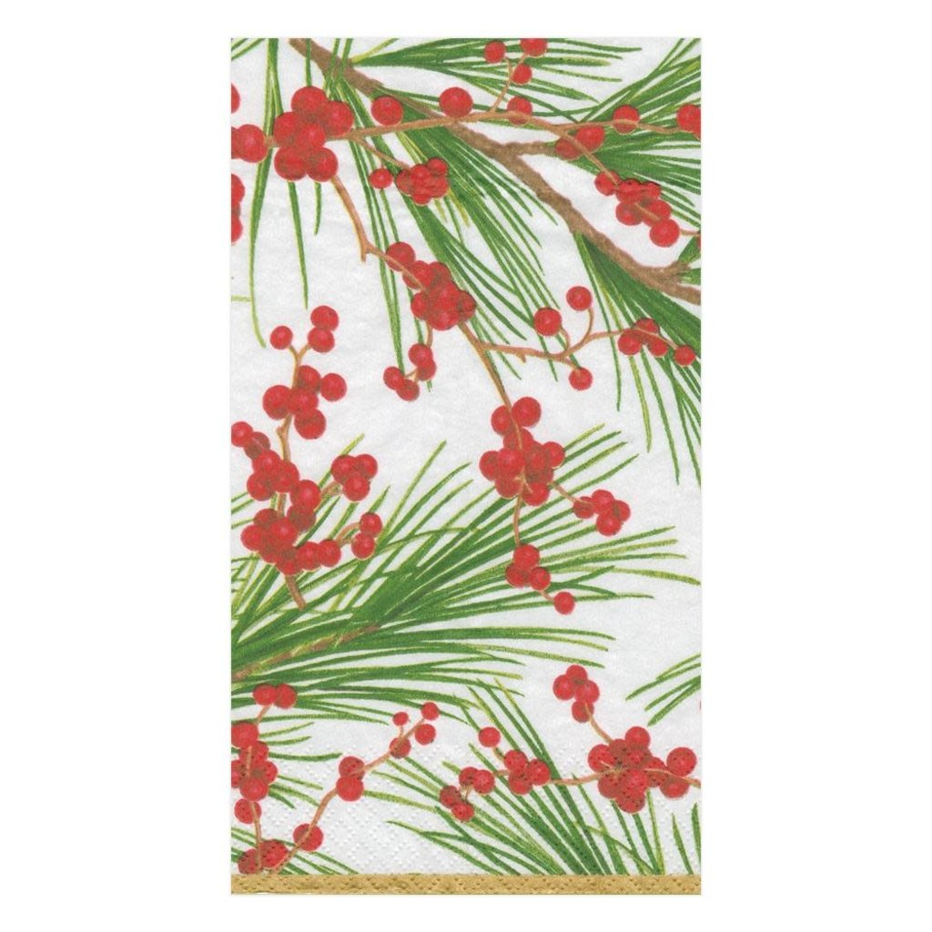 Caspari Caspari Guest Towel - Berries and Pine