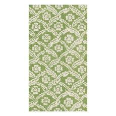 Caspari Caspari Guest Towel - Domino Papers Floral Cross Brace Green