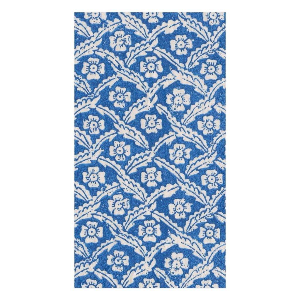 Caspari Caspari Guest Towel - Domino Papers Floral Cross Brace Blue