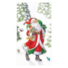 Caspari Caspari Guest Towel - Woodland Santa