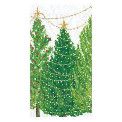 Caspari Caspari Guest Towel - Christmas Trees with Lights