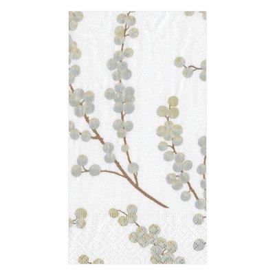 Caspari Caspari Guest Towel - Berry Branches White / Silver